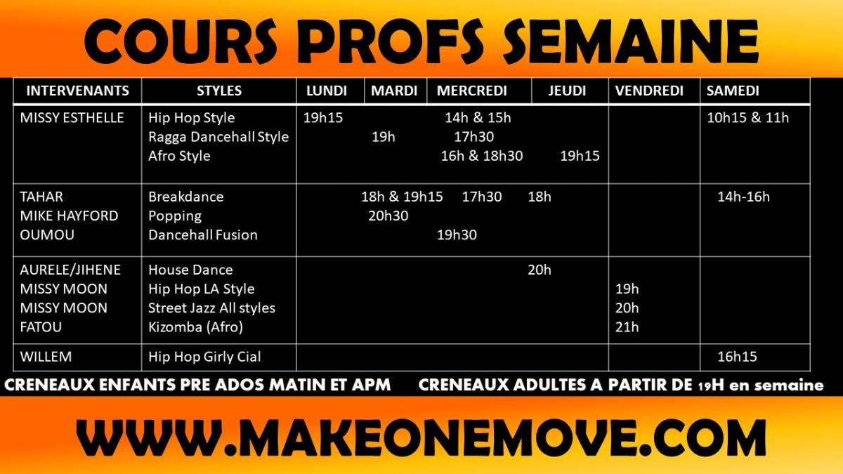 Calendrier cours semaine